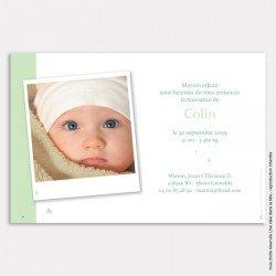 Faire part naissance mini triangles / vert mint