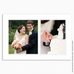 remerciements mariage / classique 2 photos cadres pointillés
