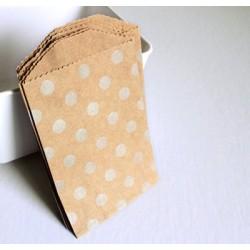 10 sachets en papier / taille S / pois / argenté fond kraft