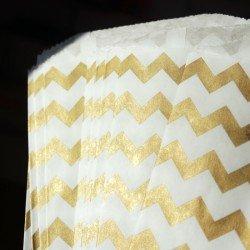 10 sachets en papier / taille M / chevrons / or