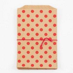 10 sachets en papier / taille M / pois / kraft et rouge