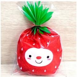 10 Sachets transparents - bonhomme fraise